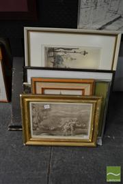 Sale 8471 - Lot 2031 - Group of (6) Assorted Artworks Including: etchings, acrylic paintings, watercolours and charcoals, various sizes