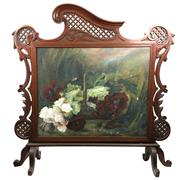 Sale 8562R - Lot 152 - Superb Ornate Mahogany Fire Screen with Oil Painting on Canvas, some losses to paint (H: 99cm W: 105cm)