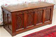 Sale 8550H - Lot 208 - A mid C19th early Georgian style coffer, with carved panel front and hinged lid, H 49 x W 114 x D 45cm