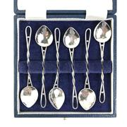 Sale 8793 - Lot 79 - Mildred Creed (d. 1943) Arts & Crafts Australian Silverware Teaspoon Set of Six c1907, in later presentation box. Rare