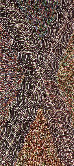 Sale 9154JM - Lot 5080 - GENEVIEVE LOY KEMARRE (1982 - ) Bush Turkey acrylic on canvas 95 x 42cm (stretched and ready to hang) certificate of authenticity in...