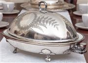 Sale 8926K - Lot 76 - A James Dixon and Sons Brittannia Metal warming dish with ceramic liner with associated cover, W 39cm