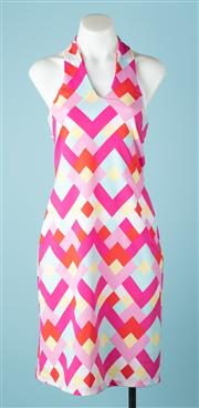 Sale 9027F - Lot 62 - A Zimmerman halter neck mini dress in bright geometric pattern, Size 1