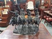 Sale 9031 - Lot 1053 - Large Bronze Group After Frederic Remington, Coming Through the Rye, originally modelled around 1902, of four galloping cowboys fi...