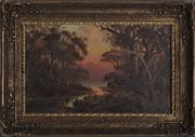 Sale 9055A - Lot 5094 - Colonial School - River at Sunset 17.5 x 29 cm (frame: 27 x 37 x 2 cm)