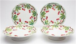 Sale 9123J - Lot 325 - A 4 piece set of French serving ware comprising a pair of footed comports and plates with cherry decoration, comport D: 24cm.