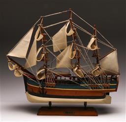 Sale 9128 - Lot 46 - Timber model of the Endeavour (H:45cm)