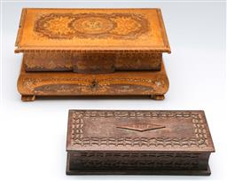 Sale 9164 - Lot 348 - An inlaid lockable jewellery chest (L:26.5cm) together with a carved book form example (L:22cm) - damage to both