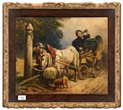 Sale 8088A - Lot 95 - European school possibly German -- Men drinking with horse &cart -- signed -- oil on board size: 28 x 35 cm