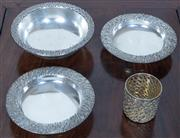 Sale 8800 - Lot 125 - A Stuart Devlin silver footed bowl, together with two Stuart Devlin footed dishes and pierced case