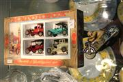 Sale 8360 - Lot 85 - Schuco Tin Motorbike with a Boxed Set of Matchbox Cars