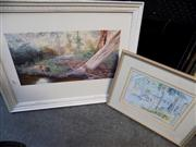 Sale 8437 - Lot 2044 - 2 Framed Artworks incl The Wharf Narooma signed J. Krantz