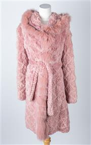 Sale 8550F - Lot 257 - A French blush pink 3/4 length criss-cross rabbit coat with fur collar by Symetrie, Paris, size M.