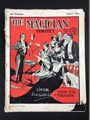 Sale 8539M - Lot 42 - 'The Magician Monthly', July 1912, no. 8 vol. 8. Ed. Will Goldston. Bright cover of a magician performing to an enraptured audience,.
