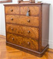 Sale 8575H - Lot 29 - A Victorian walnut chest of two short and three long drawers H: 120cm W: 120cm