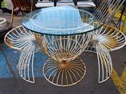 Sale 8566 - Lot 1452 - Vintage Three Piece Tublar Outdoor Suite incl. Glass Top Table & Pair of Chairs