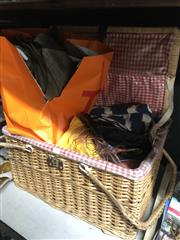 Sale 8836 - Lot 2411 - Picnic Basket with Contents incl a Variety of Fabrics