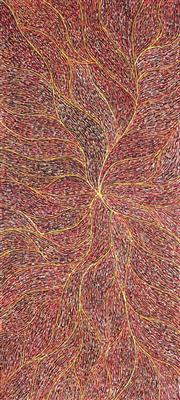Sale 8848A - Lot 5009 - Genevieve Loy Kemarre (1982 - ) - Turkey Tracks 95 x 42cm (stretched and ready to hang)
