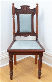 Sale 9070H - Lot 176 - An Edwardian parlour chair with padded back on turned legs, Height 190cm