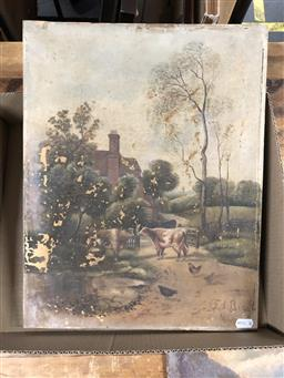 Sale 9163 - Lot 2083 - F Bird (late C19th) Farm Scene oil on canvas (AF)  46 x 36cm signed lower right