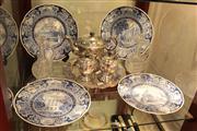 Sale 8022 - Lot 82 - Silver Plated Tea Set and Tray, Pair of Crystal Bottles and 4 Wedgwood Blue and White University Plates