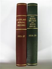 Sale 8125 - Lot 33 - Everlast Boxing Records 1935-1937; together with Post Boxing Records & Sports Annual 1934-1935. Two hard to find rebinds. (2)