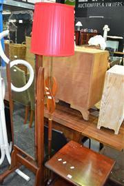 Sale 8066 - Lot 1056 - Floor Lamp with Red Shade