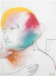 Sale 8410A - Lot 5022 - Anne Hall (1945 - ) & Gareth Sansom (1939 - ) - Portrait with Yellow Hair, 1967 76.5 x 56cm (sheet size)