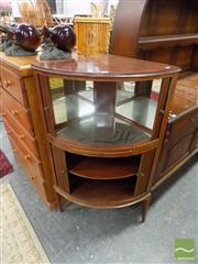 Sale 8469 - Lot 1078 - 1920s Inlaid Mahogany Corner Cocktail Cabinet, with tambour shutters, mirror interior & slide