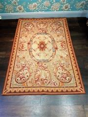 Sale 8500A - Lot 95 - A Aubusson style woolen area rug in muted colours nice large size - Condition: Excellent - Measurements: 80cm long x 120cm wide