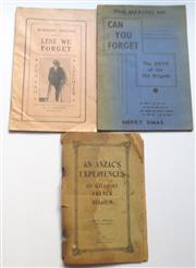 Sale 8639 - Lot 74 - 3 Booklets on War Stories by 3 returned soldiers published in Sydney after the war.