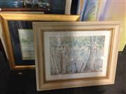 Sale 8648B - Lot 2080 - 2 Works: Artist Unknown - Misty Morning, Bowral, Watercolour & Artist Unknown - River Crossing, Watercolour, SLR