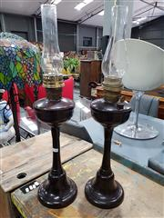 Sale 8777 - Lot 1026 - Pair of Kerosene Lamps with Glass Flutes