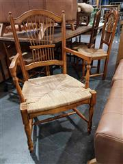 Sale 8934 - Lot 1065 - Set of Eight Italian Dining Chairs with Rush Seats incl. Two Carvers