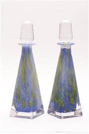 Sale 9018 - Lot 42 - A Pair of Murano Style Sommerso Glass Oil and Vinegar Decanters, H:24.5cm