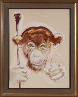 Sale 9116 - Lot 565 - Ian Van Wieringen (1953 - ) Chimpanzee (The Artist),1982 acrylic and watercolour (A.F) 80 x 61 cm (frame: 99 x 79 x 5 cm) signed and...