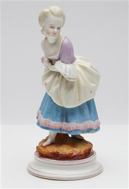 Sale 9123J - Lot 327 - An antique figurine of an 18th century lady of the court, bares AR mark in underglaze blue for Augustus Rex Meissen 1725 - 1740, how...