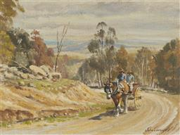 Sale 9170 - Lot 565 - JOHN CORNWELL (1930 - ) On the Road to Armidale oil on hessian 28.5 x 38.5 cm (frame: 46 x 56 x 5 cm) signed lower right