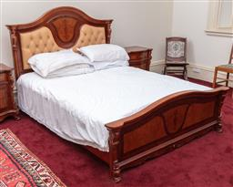 Sale 9190H - Lot 320 - A continental button back and carved queen bed with vase decoration to bed head, Width 170cm