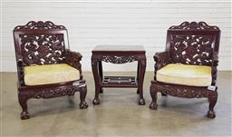 Sale 9196 - Lot 1089 - Pair of Probably Straits-Chinese Armchairs & Table, the backs carved & pierced with swirling dragons, chasing a pearl carved with go...