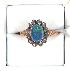 Sale 3682 - Lot 626 - A 9CT GOLD AND SILVER RING SET WITH AN OPAL DOUBLE AND WHITE STONES.