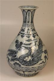 Sale 7968B - Lot 40 - A Large Blue and White 'Flying Dragon' Pear Shaped Vase,
