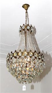 Sale 8088A - Lot 70 - A vintage French bronze and cut crystal basket shape chandelier