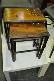 Sale 8093 - Lot 1430 - 3 Inlaid Side Tables with Forest Scenes (1x A/F) w Cane Based Side Table