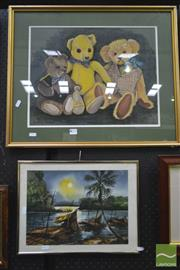 Sale 8250C - Lot 2010 - Audrey Russell, Bears, Pastel, SLL & Thai River with Boats, Watercolour