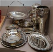 Sale 8310A - Lot 225 - A large quantity of EP wares, including swing handled footed tray, various sized dishes, and a vase