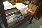 Sale 8331 - Lot 1340 - Early Timber Tackle Box, Make Up Box And Sewing Box With Vintage Sewing Contents