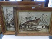 Sale 8437 - Lot 2074 - 2 Framed Artworks incl Cottage signed Backall