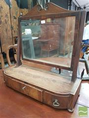 Sale 8444 - Lot 1042 - Regency Mahogany Toilet Mirror, with bow front base fitted with three drawers (veneer losses / one missing handle)