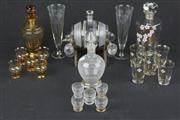 Sale 8448 - Lot 4 - Amber Glass Drink Suite with 3 Others